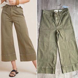 NWT Anthro Wide Leg Chino Crops Green Khaki 2
